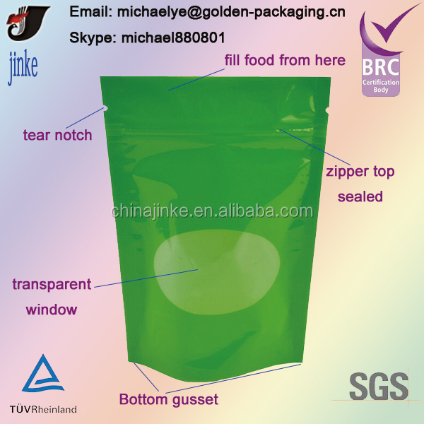Stand Up Pouch With Zipper For Food Packing
