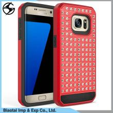 Foshan factory hot sale tpu pc hybrid phone case diamond studded crystal stone cell phone case mobile cover for Samsung Galaxy
