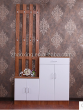 Stand Hallway Entryway Wooden Hall Shoe Storage Cabinet With Coat Rack Metal
