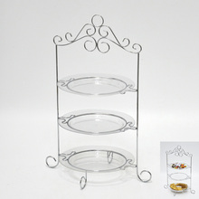 3 Pieces Acrylic Plate 3 Tier Wedding Cake Stand