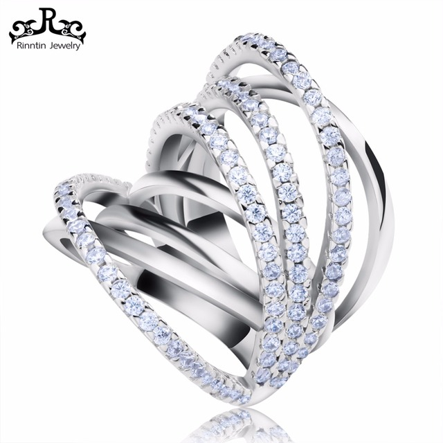 Newest Design Fashion Jewelry Shiny CZ Vintage Luxury Channel Ring for Women Wedding Party RIR93