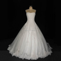 Real Photo A Line Sweetheart Sparkle Crystal Bead Lace Wedding Dress