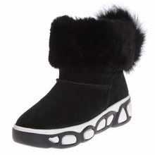 Winter warm women shoes Mid heel Suede leather Fur outside flat boots S028