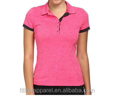 Womens quick dry golf polo 100 polyester t shirt button for Womens button up polo shirts