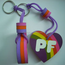 Cheap colorful printing 3 layer custom eva foam keychain, heart shape floating key chain