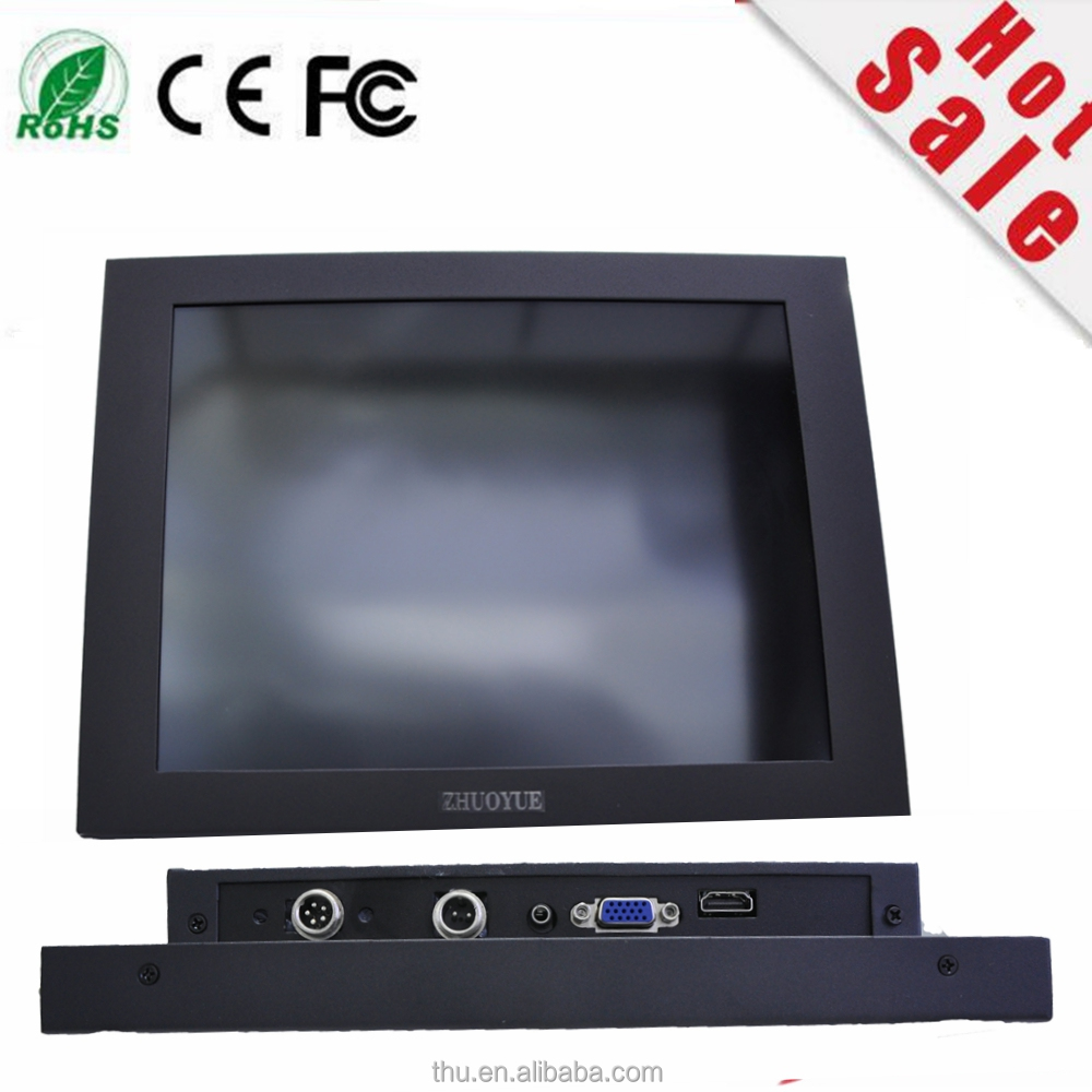 new stock strong metal case 12 inch 800*600 4:3 VGA HDMI input DC 12V 5 wire resistive USB Touch screen industrial Monitor