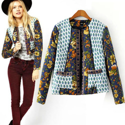 C58244S Wholesale new design high quality printed ladies short winter coats
