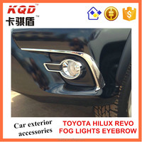 * Exterior accessories for cars chrome fog lights eyebrow fot toyota hilux revo front fog light eyebrow for revo hilux toyota