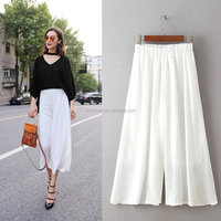 Casual loose women skirt pants girls long skirt pants white color summer fashion dress pants