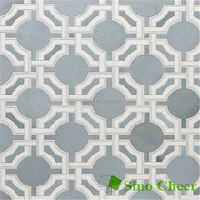Carrara and blue marble waterjet mosaic tile