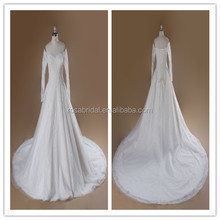 Alibaba Export A-line Lace Beaded Off The Shoulder Wedding Dresses With Sleeves