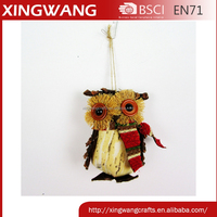 4.5inch handmade forest style christmas holiday fabric owl ornament dropshipping