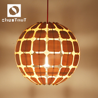 Modern carving wood vintage commercial led pendant lighting home interior decor for high ceilings