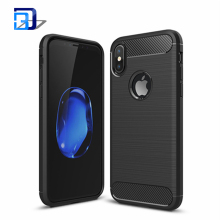 New Products Premium Brushed Texture Ultra Slim Carbon Fiber Flexible Soft TPU Gel Rubber Protective Case Cover For iPhone 8