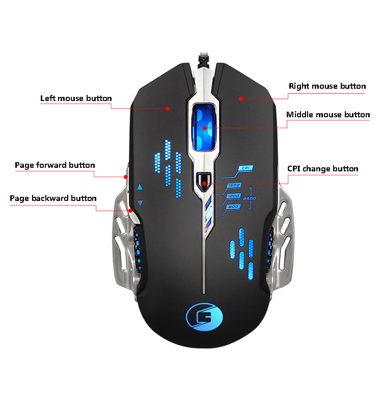 2018 Hot selling mouse high quality wired usb optical Gaming Mouse