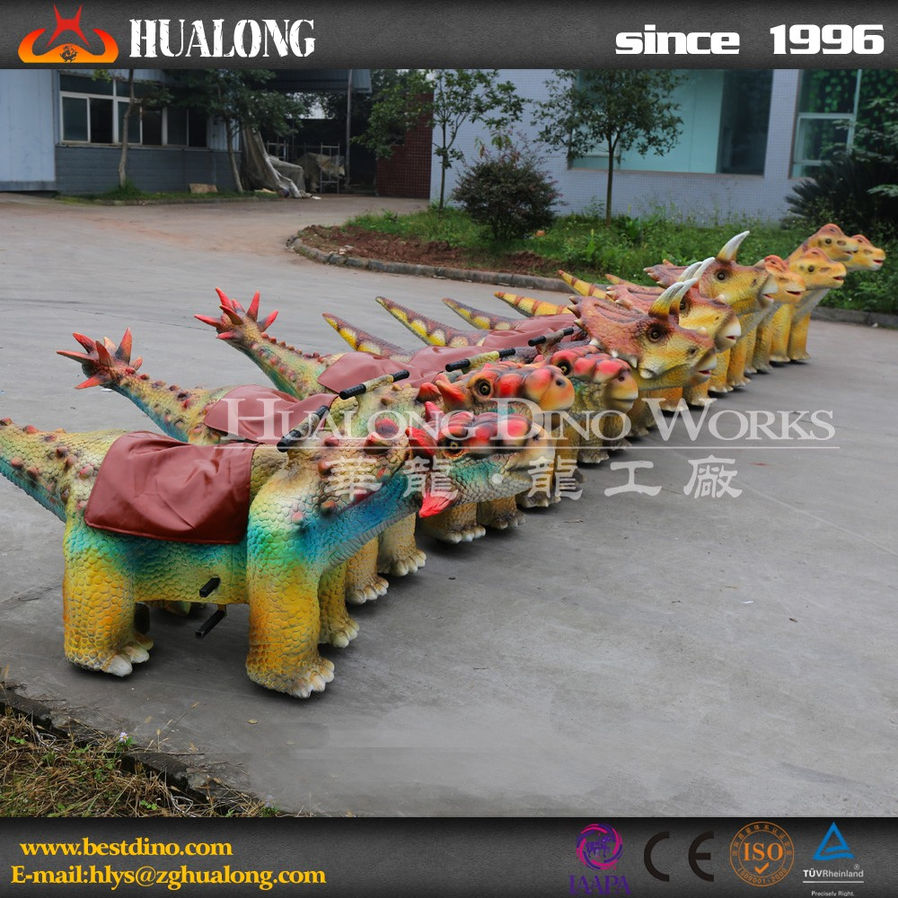 Cheap kids outdoor play equipment cartoon dinosaur ride model
