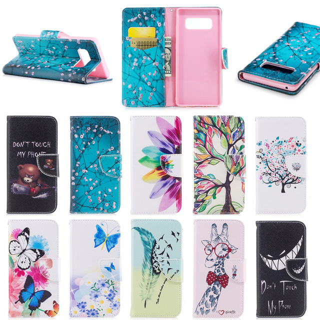 2017 Newest Colorful Painted Stand Flip Wallet Leather Case for Samsung Galaxy Note 8