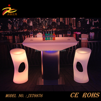 CE&ROHS approved illuminated plastic led bar table with metal stand/led table/led furniture led table led chairs