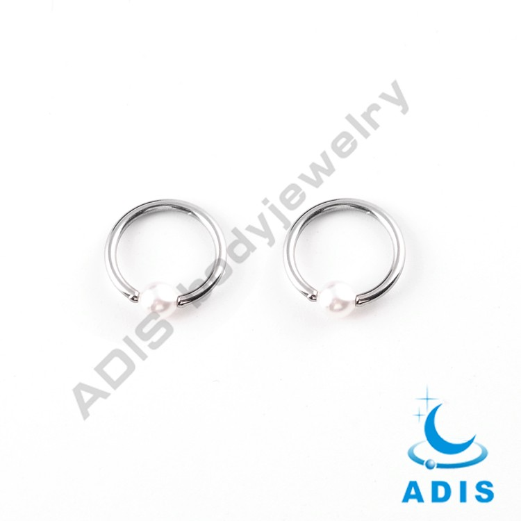 Stainless Steel Jewelry 2016 Open Nose Hoop Ring with Disk