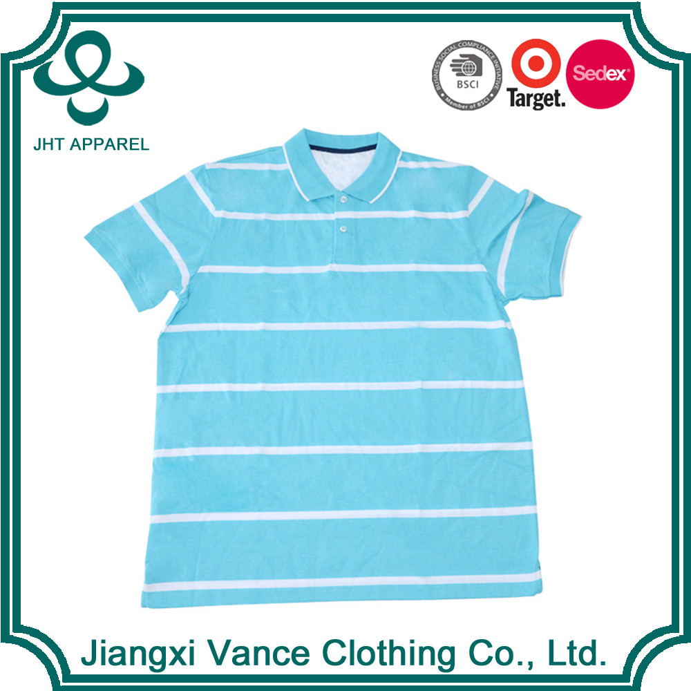 100 cotton honeycomb white and blue color combination men's no name collar striped t shirt wholesale polo shirt with lining