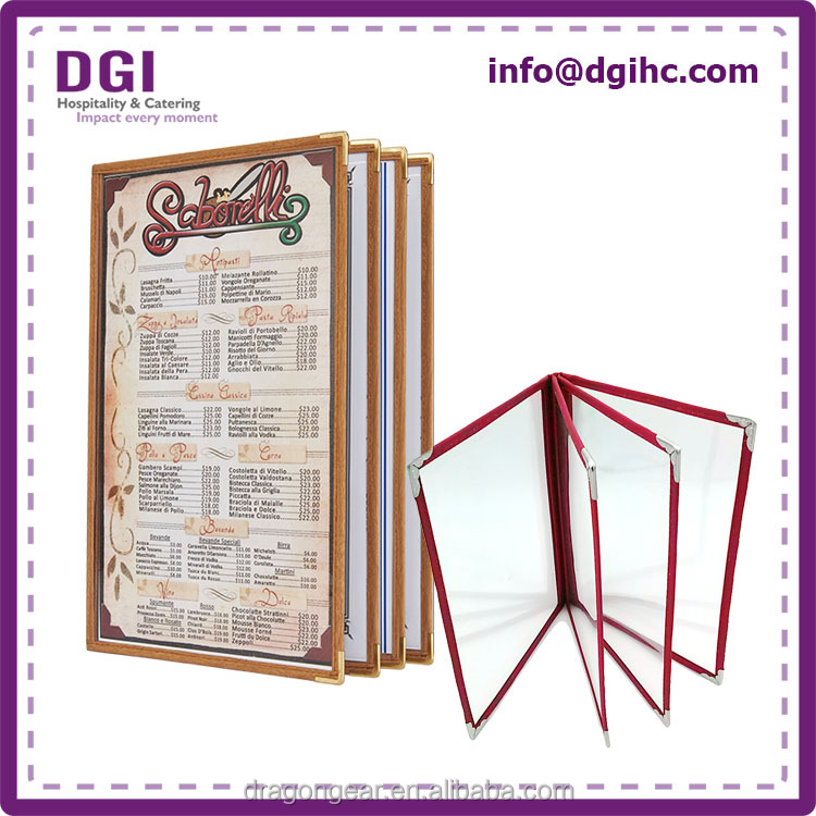 Durable 4 Panels restaurant menu cover, catering material, hotel equipment