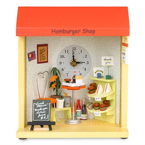 Dollhouse Hamburger Shop Table & Wall Clock