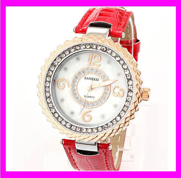 JC3961 Unique mew design crystal luxury watch with red leather band