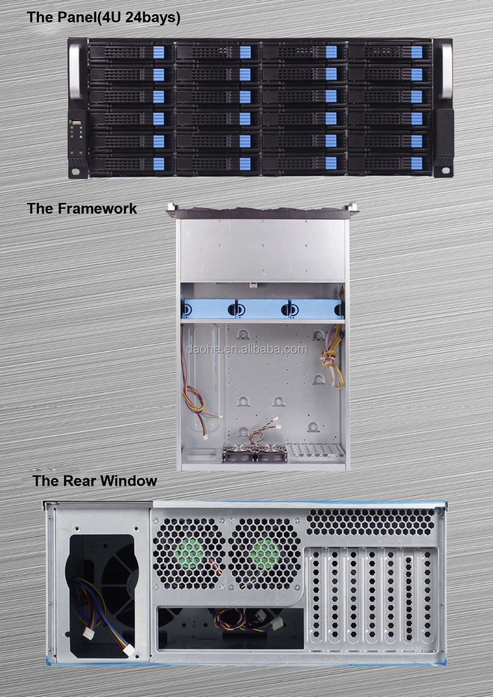 daohe 24 Bays HOT SWAP Storage Server Case with 3*12038 Fans rackmount chassis