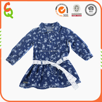 2016 hot sale denim girl dress 2-6years with white lace belt