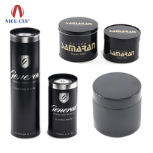 Nice-can China Factory Nice-Can Manufacturer Supply Wholesale Customized Black Color Round Coffee Tea Metal Tin Can