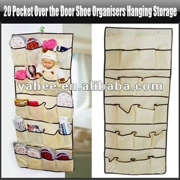 NEW 20 Pocket Over the Door Shoe Organizer Hanging Storage Bags Made of Premium Cloth, YFK673A