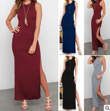 Newest style ladies western fashion dress slit design night sexy sundress long dress