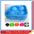 2015 New Design Bar Accessories Type 4 Cavity Silicone Ice Ball Mold Tray/ Silicone Whisky Ice Ball Maker