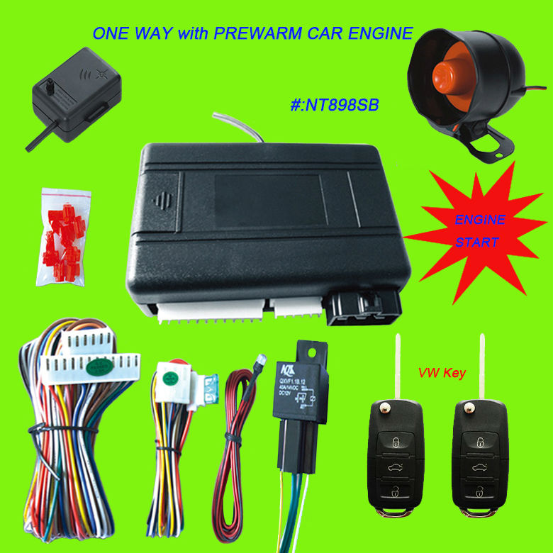Remote Engine Start One Way Car Alarm System with VW Key