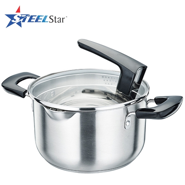 Stainless steel cooking soup pot with tempered glass lid