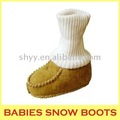 Double face sheepskin boots knitted snow boots for baby leather shoes