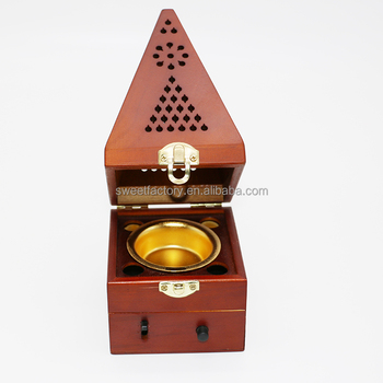 Pyramid design wood incense holder burner