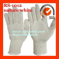 RILIN SAFETY wholesall nature white Military Parade Gloves Marching ,bleach cotton knit glove CE certificate EN388 EN420