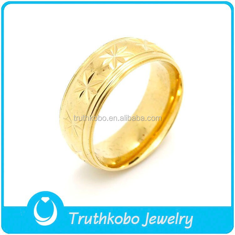 Latest Brand Design PVD Plated Gold Womens High Polishing Stainless Steel Ring Shiny Wedding Ring