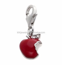 Elegant Custom Silver Plated Crystal Red Enameled Apple Fruit Charm Jewelry