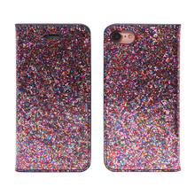 stand magnetic glitter pu leather case with card slot for iphone 5 6 7 8 plus x