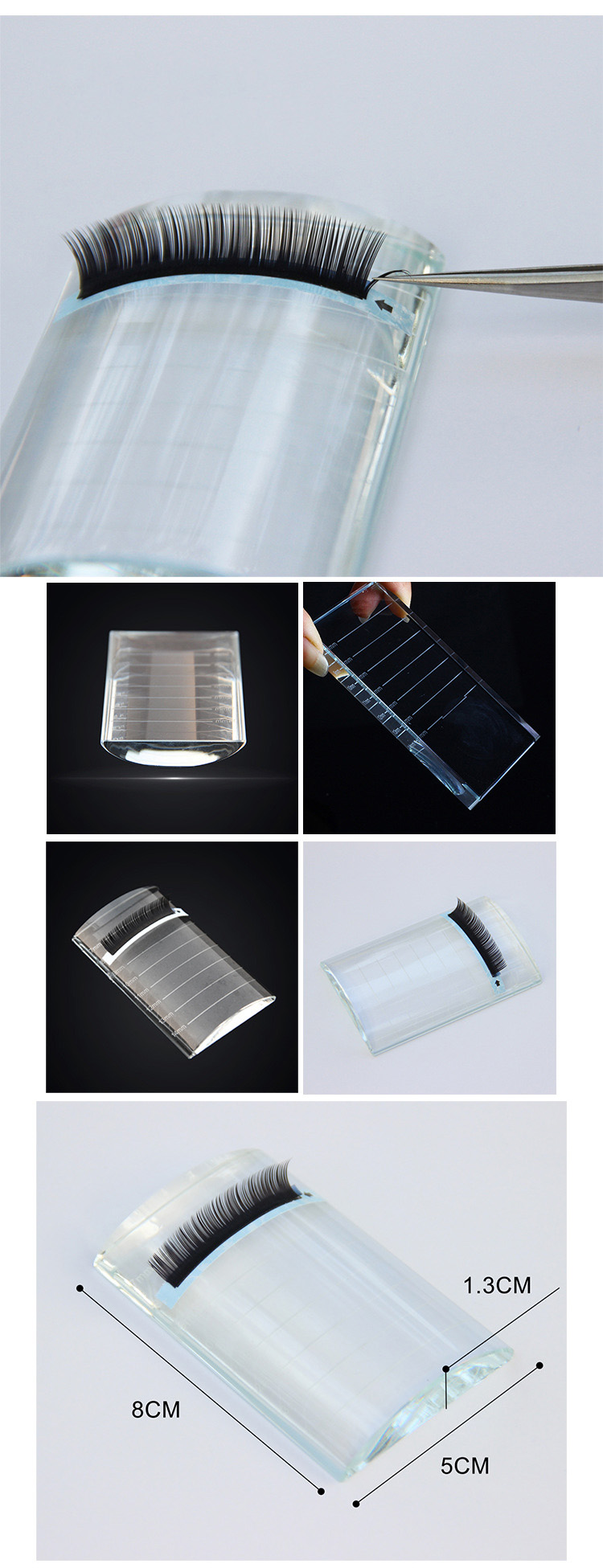 Wholesale Crystal glass stone individual eyelashes grafting holder lash extension tools device