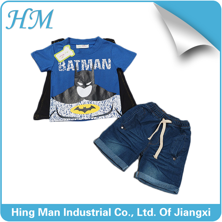 2016 new latest summer lovely cartoon design boys jeans suit.