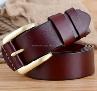New Arrival men's Copper Buckle Genuine Leather Belt for Men