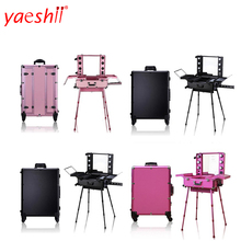 yashii 2018 professional portable <strong>cosmetics</strong> lighted trolley rolling makeup case