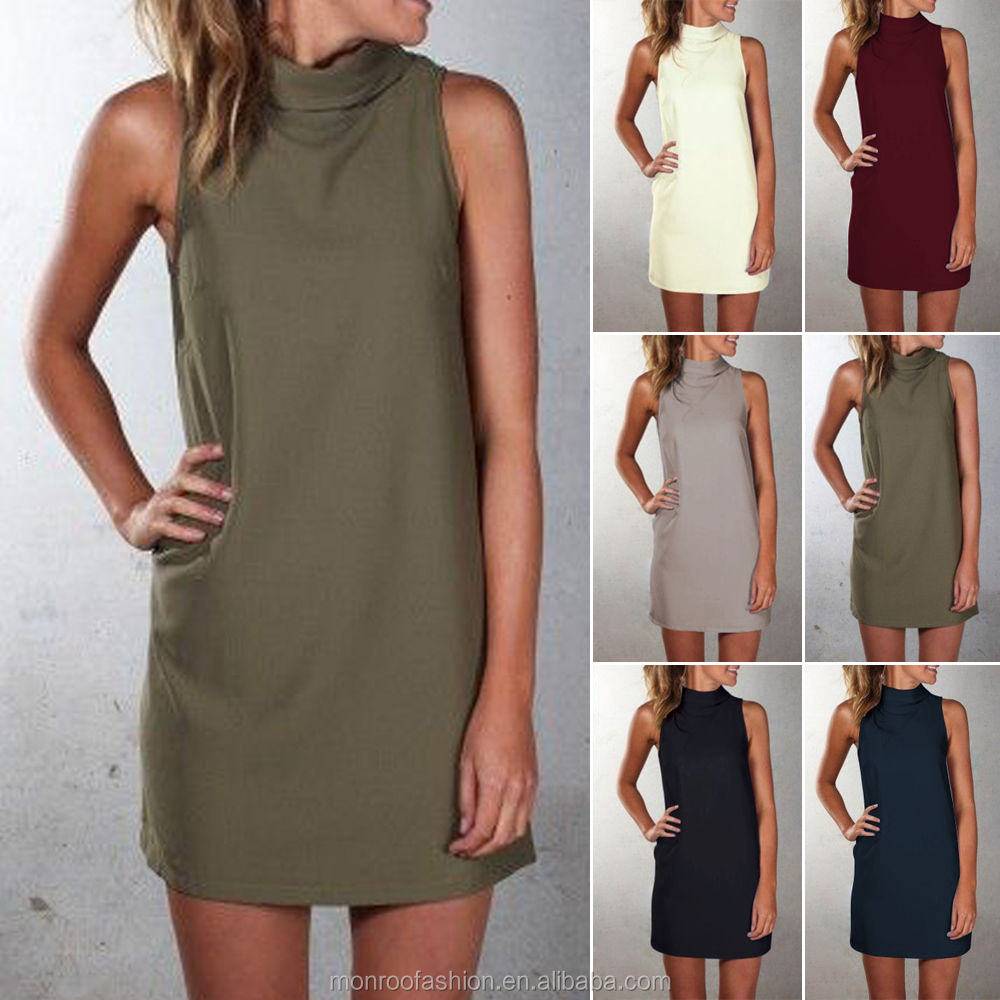 monroo Autumn and winter hot style leisure high-necked sleeveless dress