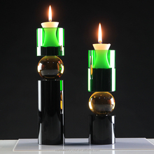 2017 New Design Blue on Top Cylinder Glass Candle Holder
