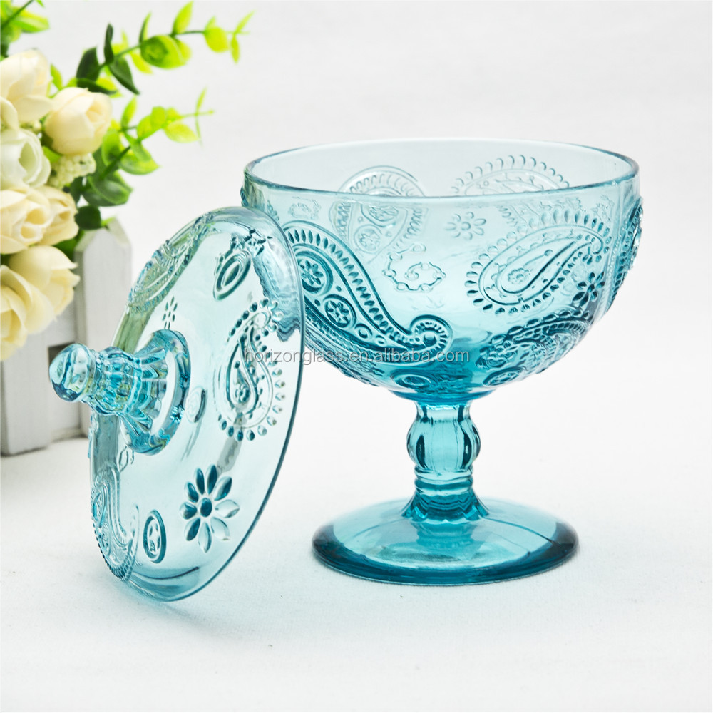 Hand press blue glass ice cream bowl with stem and lid glass sugar storage bowl for children
