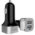 YCCTEAM 4.8A Car charger with 2 USB ports fast charging car charger adapter black-silver