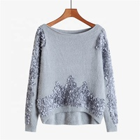 Professional Design Comfortable Fur Yarn Applique Winter Women Sweater